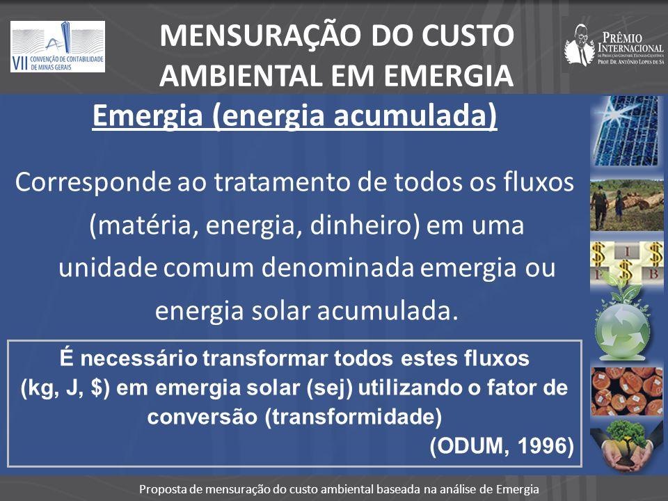 MENSURAÇÃO DO CUSTO AMBIENTAL EM EMERGIA Emergia (energia acumulada)