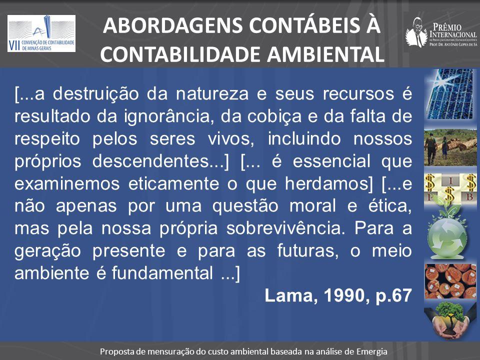 ABORDAGENS CONTÁBEIS À CONTABILIDADE AMBIENTAL