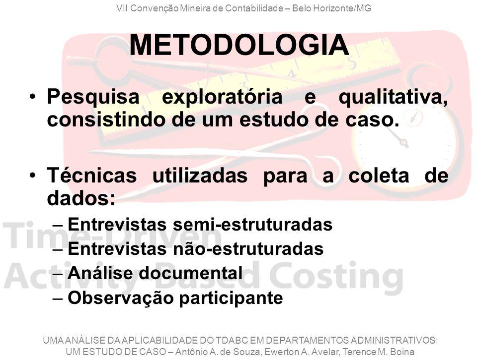 METODOLOGIA Pesquisa exploratória e qualitativa, consistindo de um estudo de caso. Técnicas utilizadas para a coleta de dados: