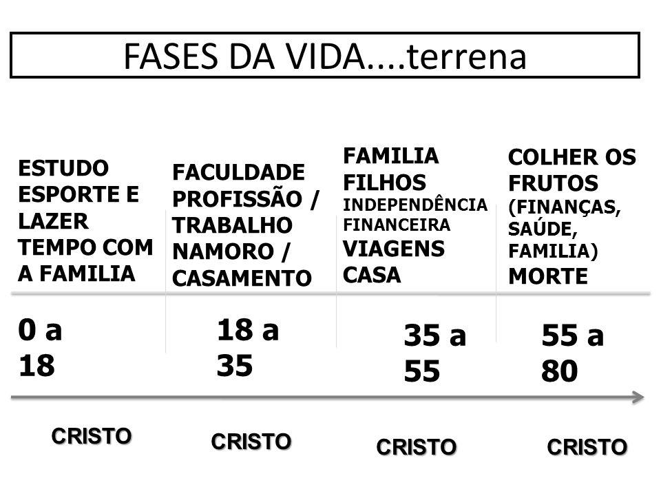 FASES DA VIDA....terrena 0 a 18 18 a 35 35 a 55 55 a 80 FAMILIA FILHOS