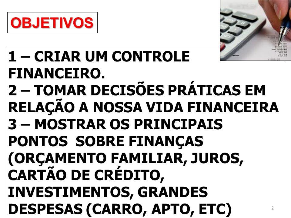 OBJETIVOS 1 – CRIAR UM CONTROLE FINANCEIRO.