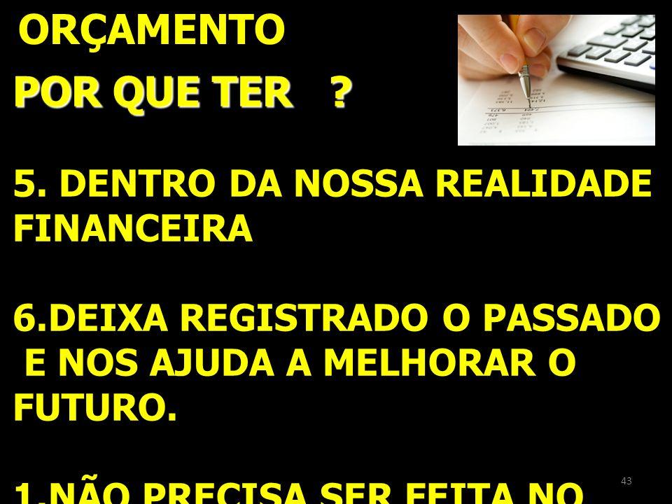ORÇAMENTO POR QUE TER 5. DENTRO DA NOSSA REALIDADE FINANCEIRA