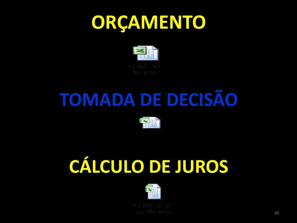 ORÇAMENTO TOMADA DE DECISÃO MOSTRAR TOMADA DE DECISAO CÁLCULO DE JUROS