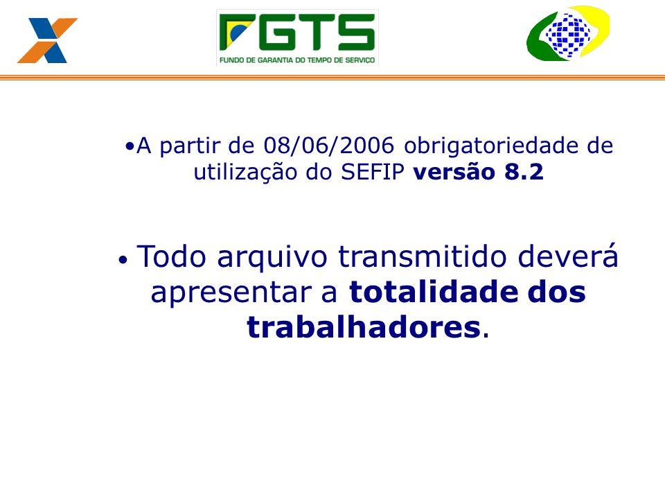A partir de 08/06/2006 obrigatoriedade de utilização do SEFIP versão 8