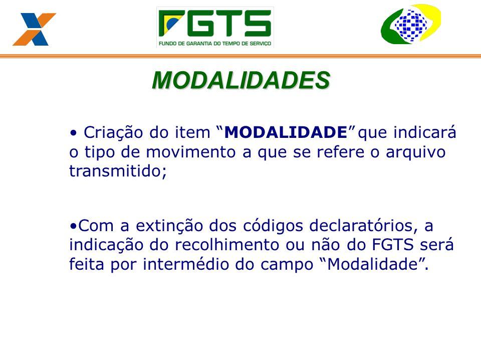MODALIDADES Criação do item MODALIDADE que indicará o tipo de movimento a que se refere o arquivo transmitido;