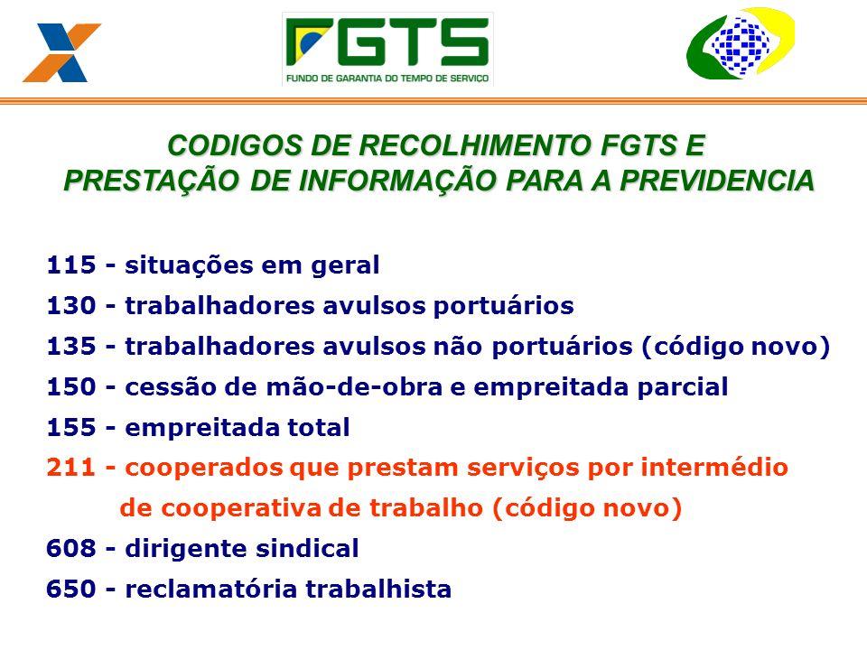 CODIGOS DE RECOLHIMENTO FGTS E