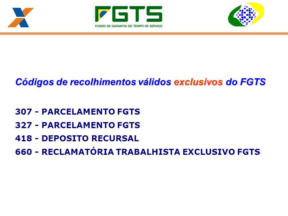 Códigos de recolhimentos válidos exclusivos do FGTS