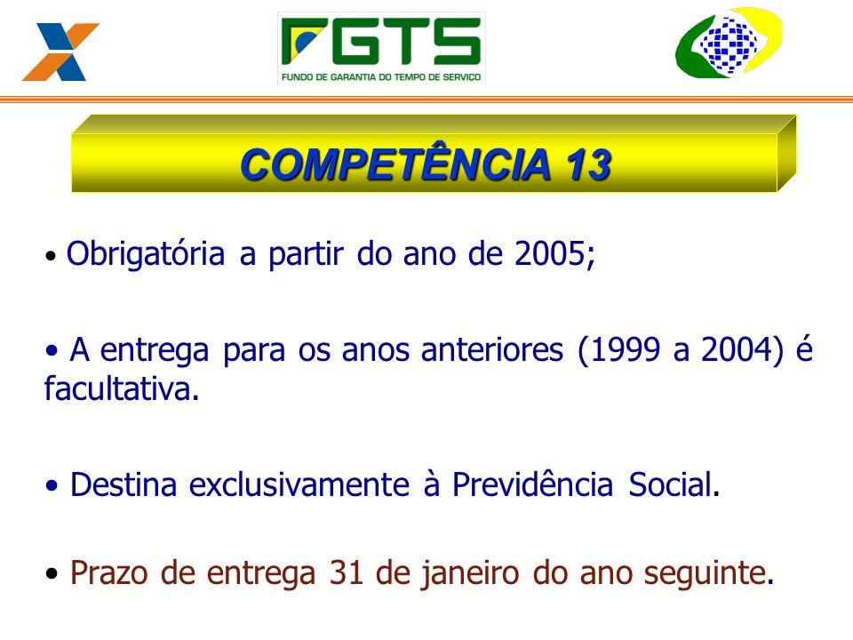 COMPETÊNCIA 13 Obrigatória a partir do ano de 2005; A entrega para os anos anteriores (1999 a 2004) é facultativa.