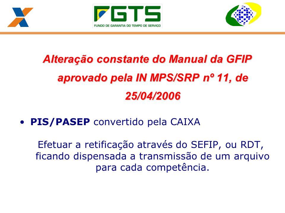 Alteração constante do Manual da GFIP aprovado pela IN MPS/SRP nº 11, de 25/04/2006