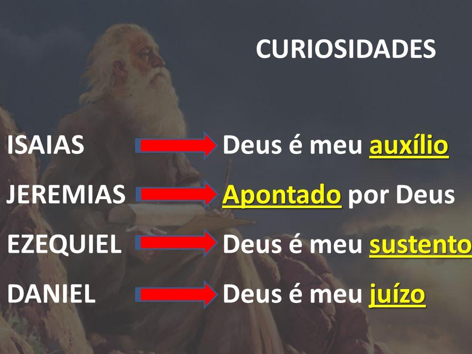 CURIOSIDADES ISAIAS. JEREMIAS. EZEQUIEL. DANIEL. Deus é meu auxílio. Apontado por Deus. Deus é meu sustento.