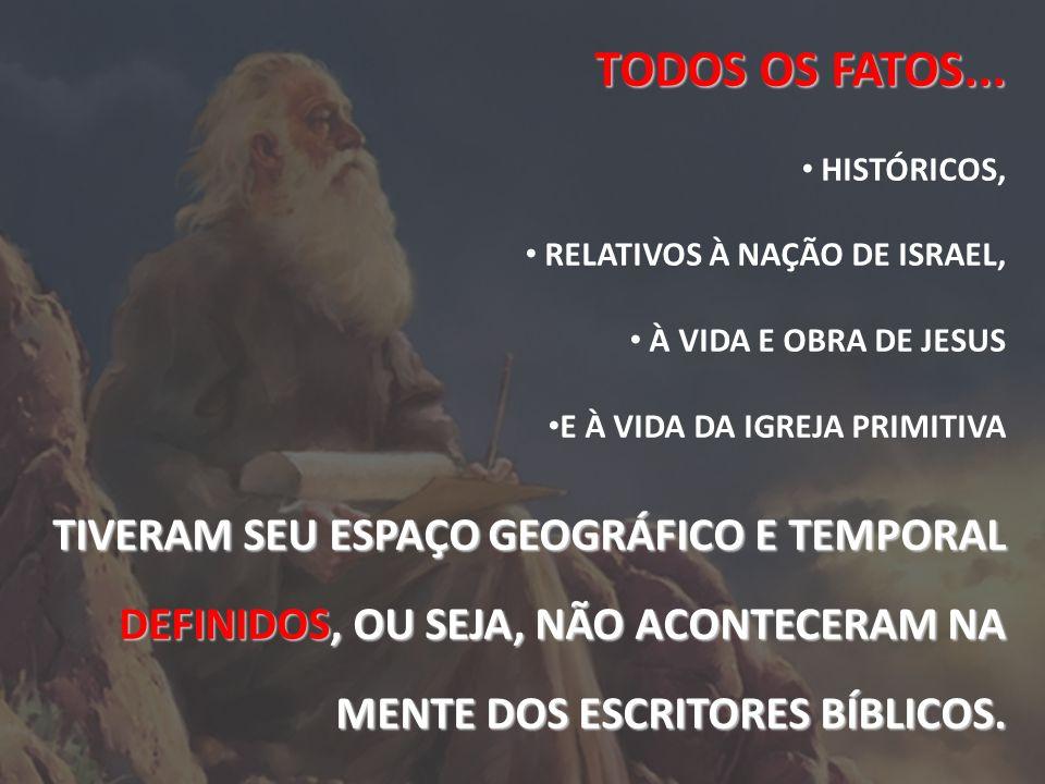 TODOS OS FATOS... HISTÓRICOS, RELATIVOS À NAÇÃO DE ISRAEL, À VIDA E OBRA DE JESUS. E À VIDA DA IGREJA PRIMITIVA.
