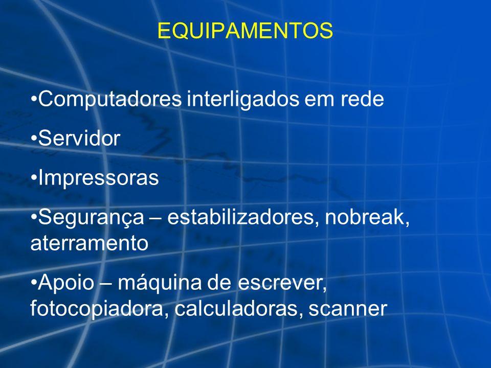 EQUIPAMENTOS Computadores interligados em rede. Servidor. Impressoras. Segurança – estabilizadores, nobreak, aterramento.