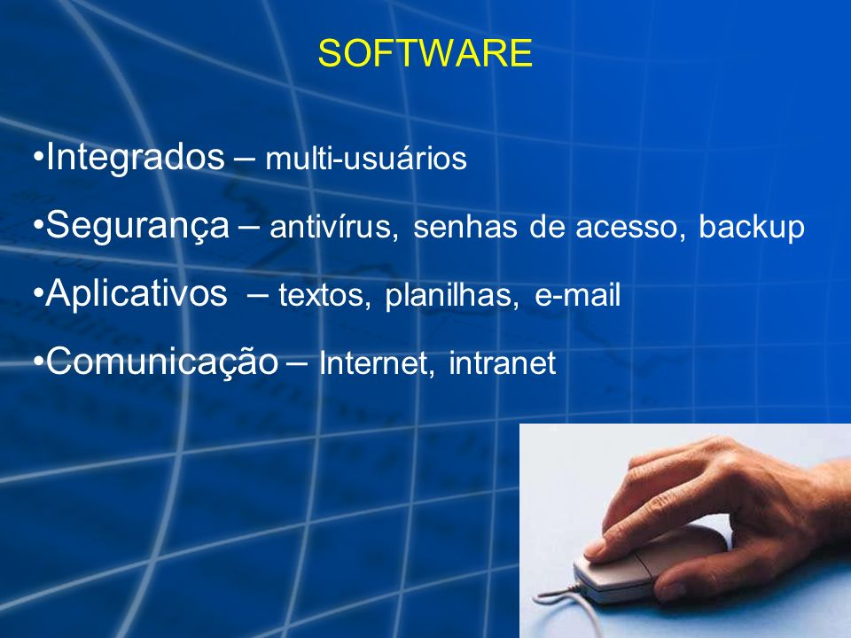SOFTWARE Integrados – multi-usuários. Segurança – antivírus, senhas de acesso, backup. Aplicativos – textos, planilhas, e-mail.
