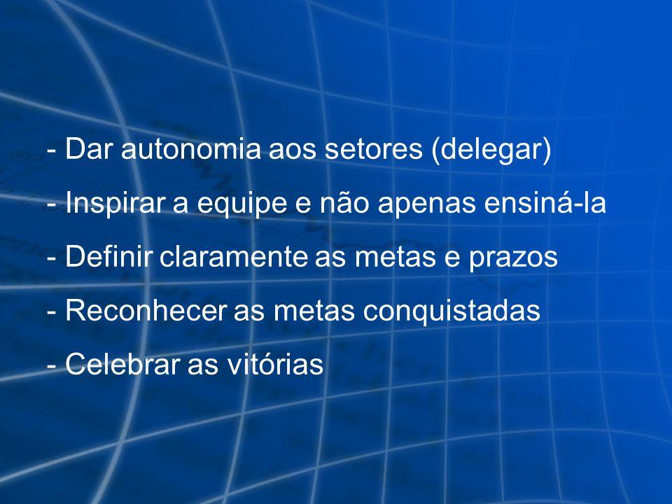 Dar autonomia aos setores (delegar)