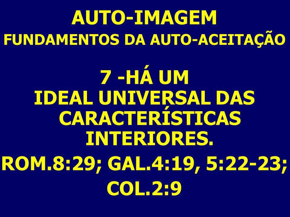 AUTO-IMAGEM 7 -HÁ UM IDEAL UNIVERSAL DAS CARACTERÍSTICAS INTERIORES.