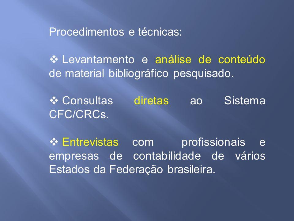 Procedimentos e técnicas: