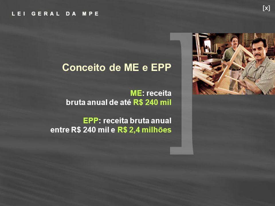 Conceito de ME e EPP ME: receita bruta anual de até R$ 240 mil