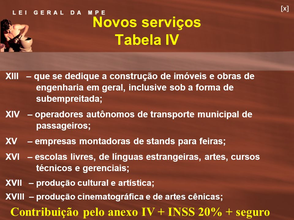 Novos serviços Tabela IV
