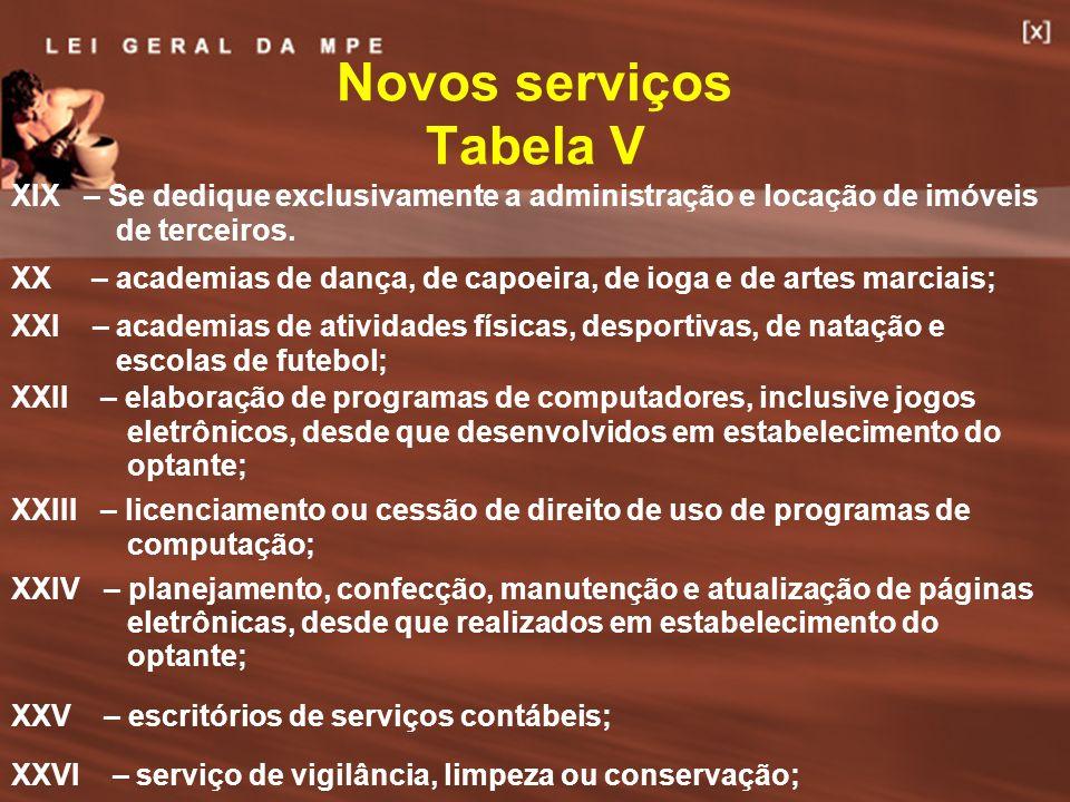 Novos serviços Tabela V