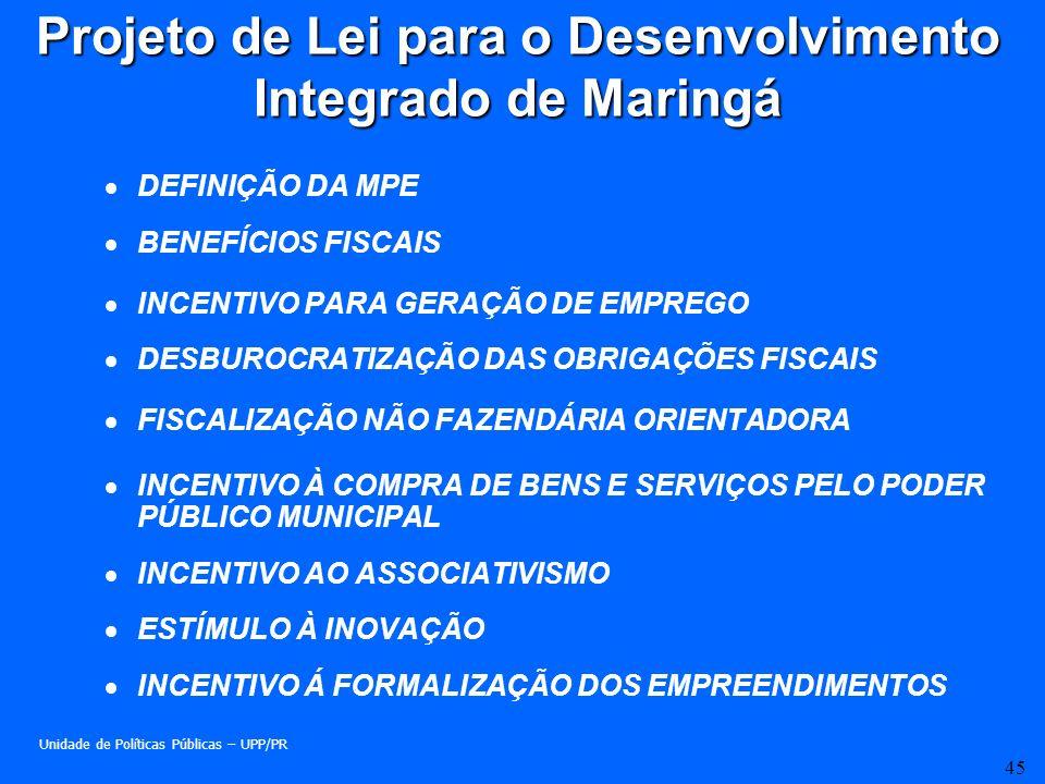 Projeto de Lei para o Desenvolvimento Integrado de Maringá