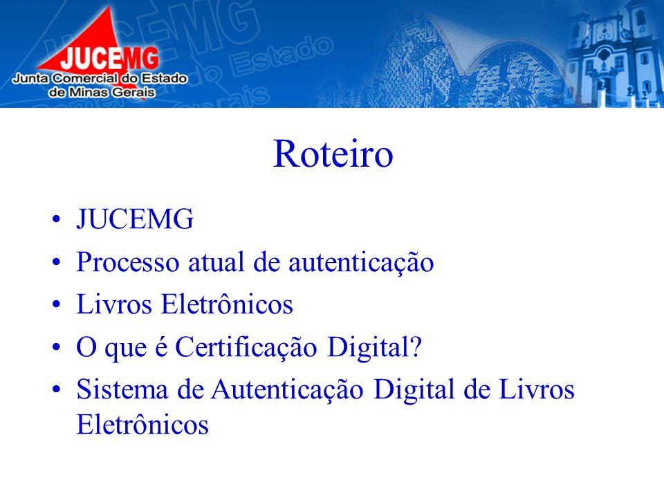 Roteiro JUCEMG Processo atual de autenticação Livros Eletrônicos