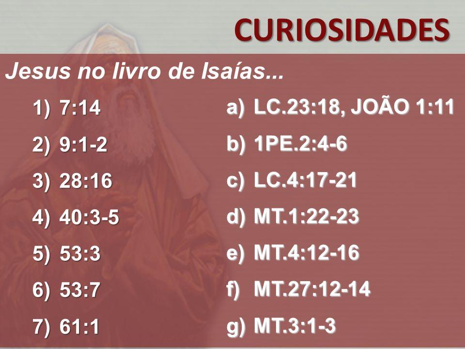CURIOSIDADES Jesus no livro de Isaías... 7:14 LC.23:18, JOÃO 1:11