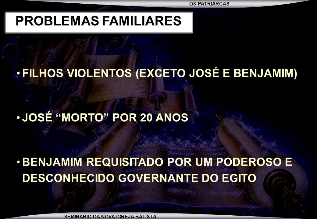 PROBLEMAS FAMILIARES FILHOS VIOLENTOS (EXCETO JOSÉ E BENJAMIM)