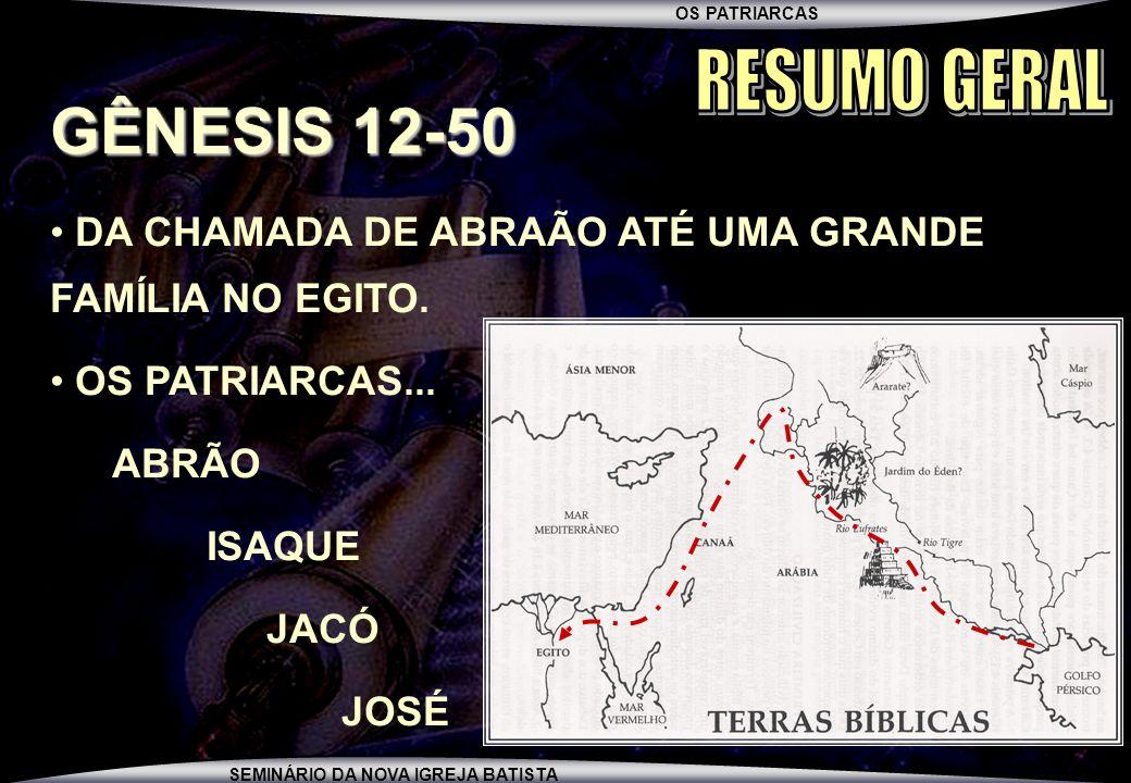 RESUMO GERAL GÊNESIS 12-50. DA CHAMADA DE ABRAÃO ATÉ UMA GRANDE FAMÍLIA NO EGITO. OS PATRIARCAS...