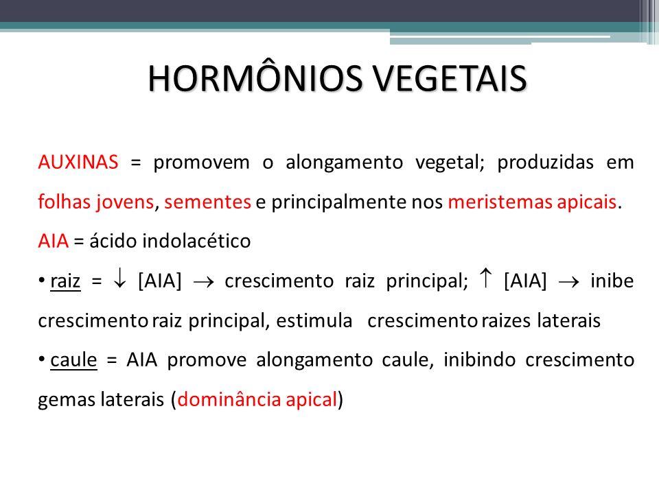HORMÔNIOS VEGETAIS AUXINAS = promovem o alongamento vegetal; produzidas em folhas jovens, sementes e principalmente nos meristemas apicais.