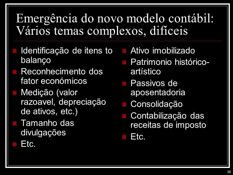 Emergência do novo modelo contábil: Vários temas complexos, difíceis
