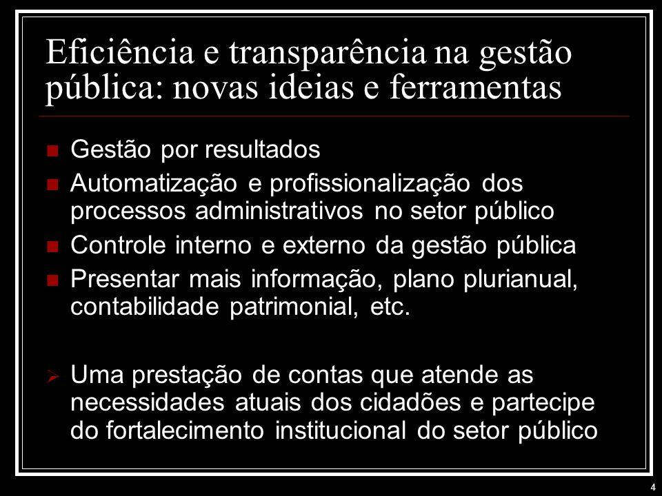 Eficiência e transparência na gestão pública: novas ideias e ferramentas