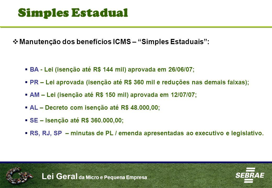Simples Estadual Manutenção dos benefícios ICMS – Simples Estaduais :