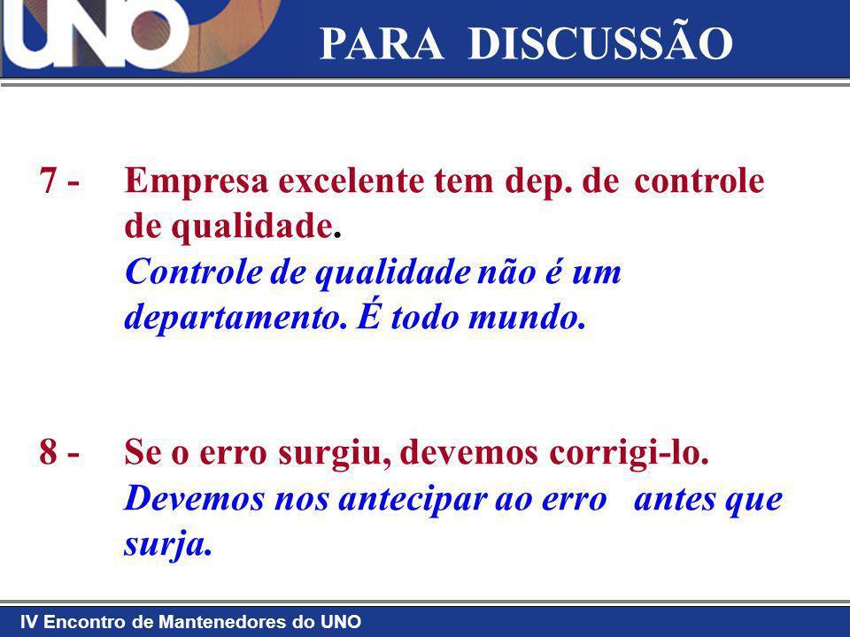 PARA DISCUSSÃO 7 - Empresa excelente tem dep. de controle de qualidade. Controle de qualidade não é um departamento. É todo mundo.