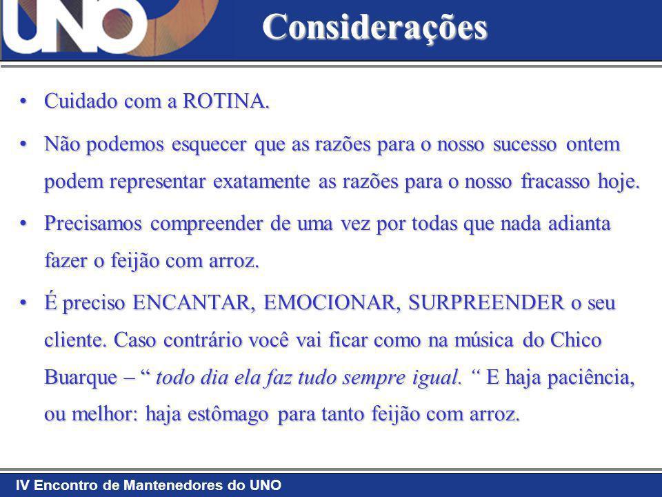 Considerações Cuidado com a ROTINA.