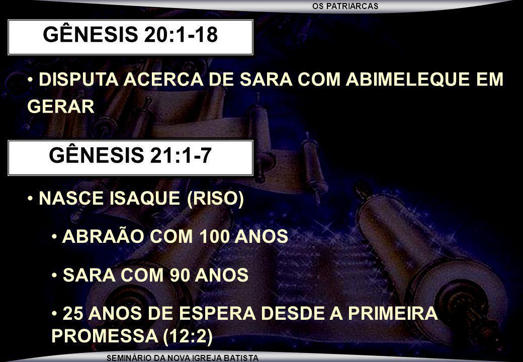 GÊNESIS 20:1-18 DISPUTA ACERCA DE SARA COM ABIMELEQUE EM GERAR. GÊNESIS 21:1-7. NASCE ISAQUE (RISO)