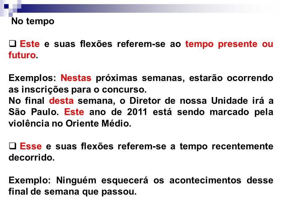 No tempoEste e suas flexões referem-se ao tempo presente ou futuro.