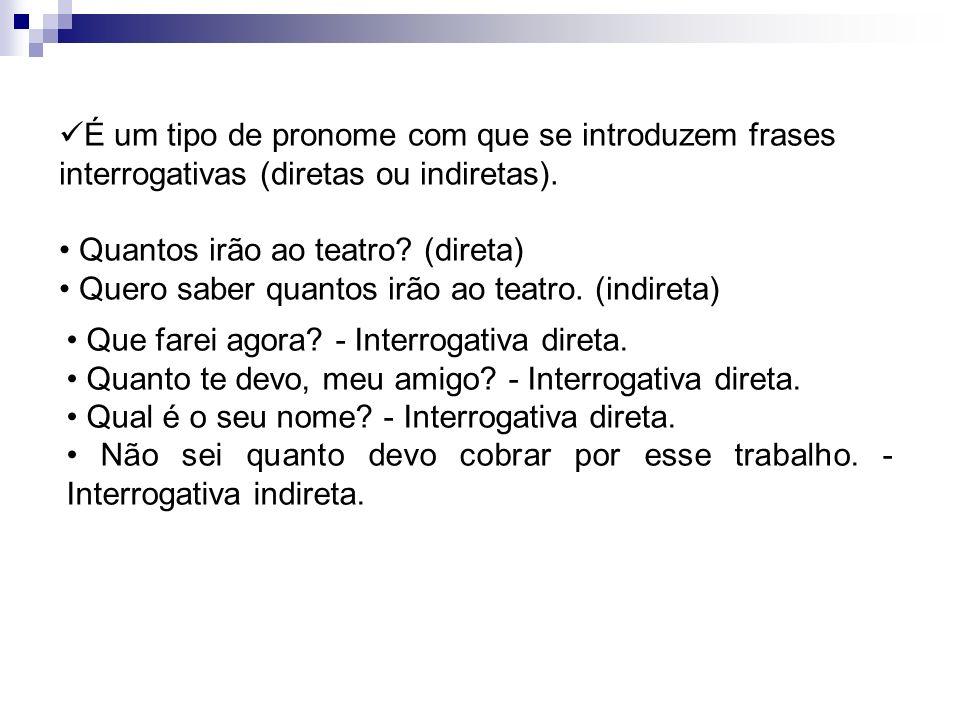 É um tipo de pronome com que se introduzem frases interrogativas (diretas ou indiretas).
