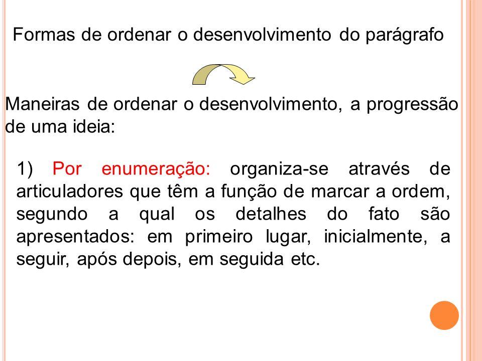 Formas de ordenar o desenvolvimento do parágrafo
