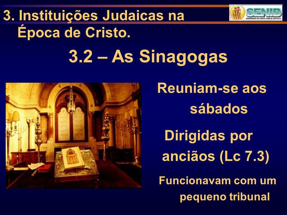 3.2 – As Sinagogas 3. Instituições Judaicas na Época de Cristo.