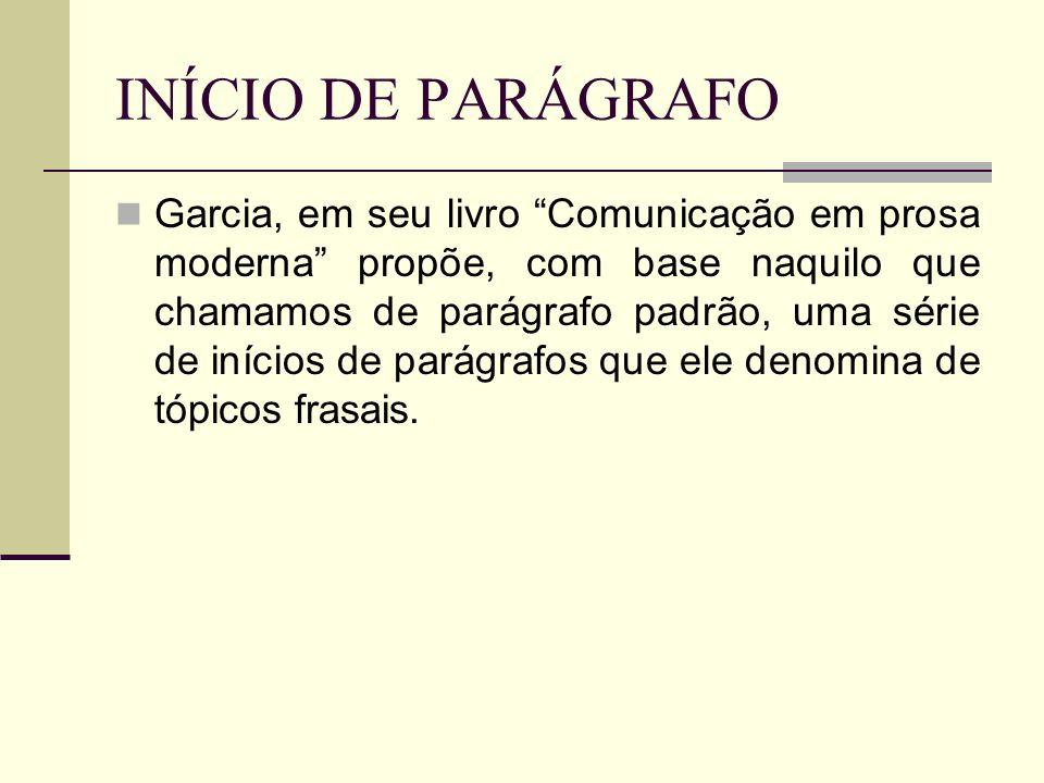 INÍCIO DE PARÁGRAFO