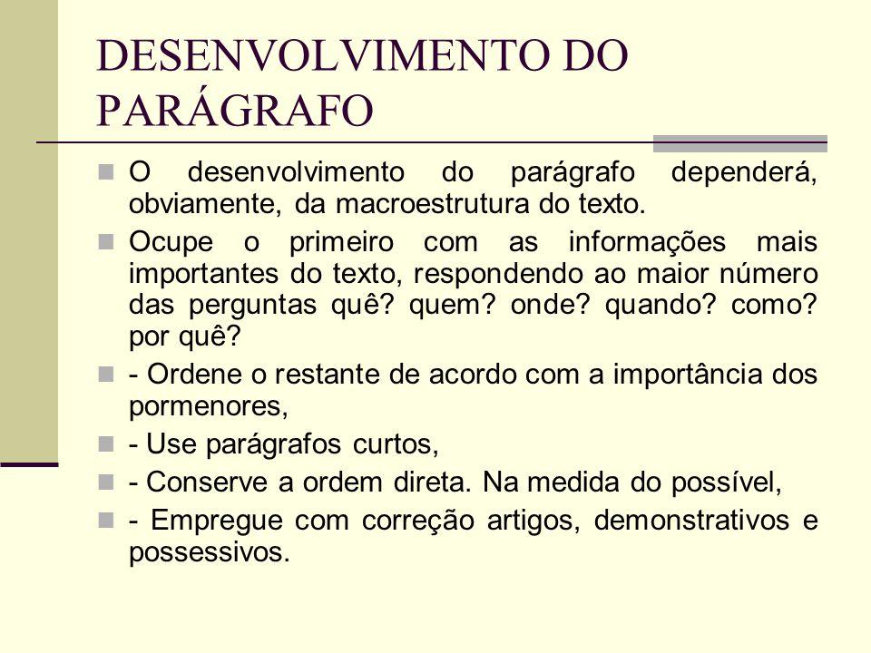 DESENVOLVIMENTO DO PARÁGRAFO