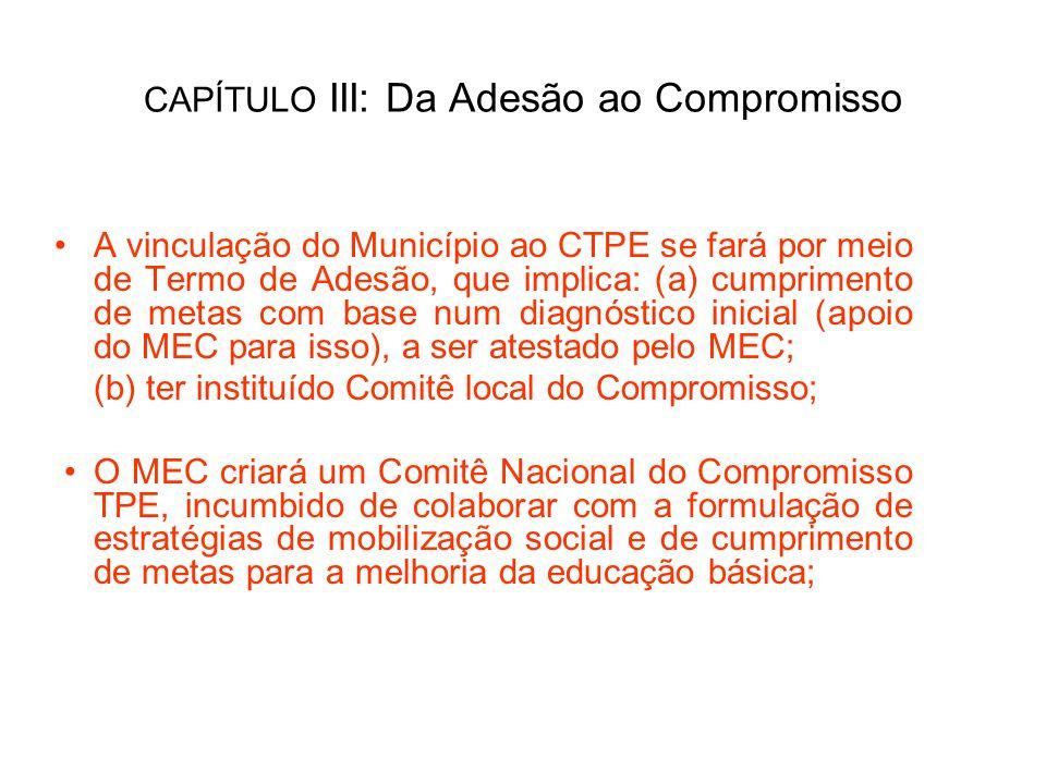 CAPÍTULO III: Da Adesão ao Compromisso