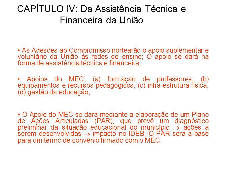 CAPÍTULO IV: Da Assistência Técnica e Financeira da União
