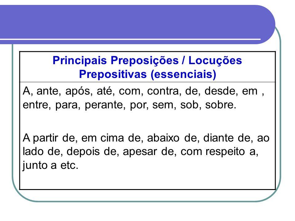 Principais Preposições / Locuções Prepositivas (essenciais)