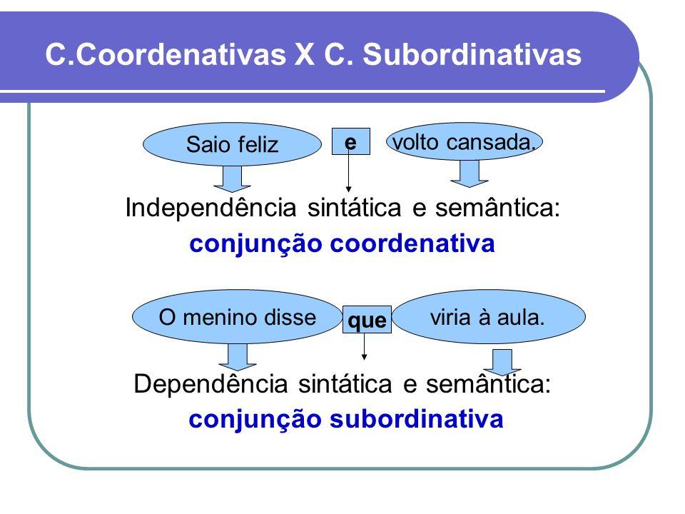 C.Coordenativas X C. Subordinativas