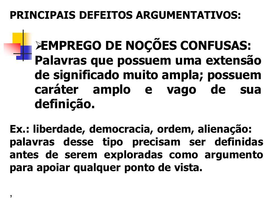 EMPREGO DE NOÇÕES CONFUSAS: