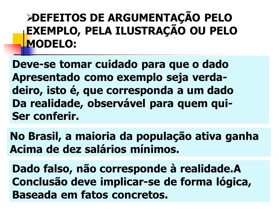 DEFEITOS DE ARGUMENTAÇÃO PELO