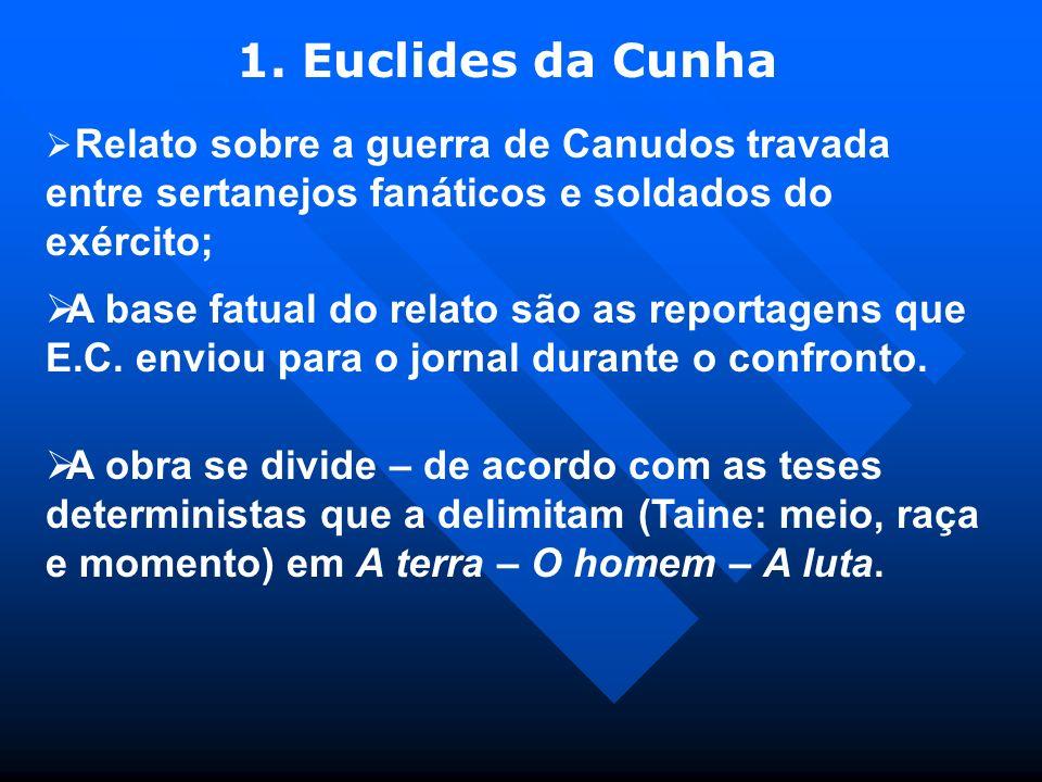 1. Euclides da Cunha Relato sobre a guerra de Canudos travada entre sertanejos fanáticos e soldados do exército;