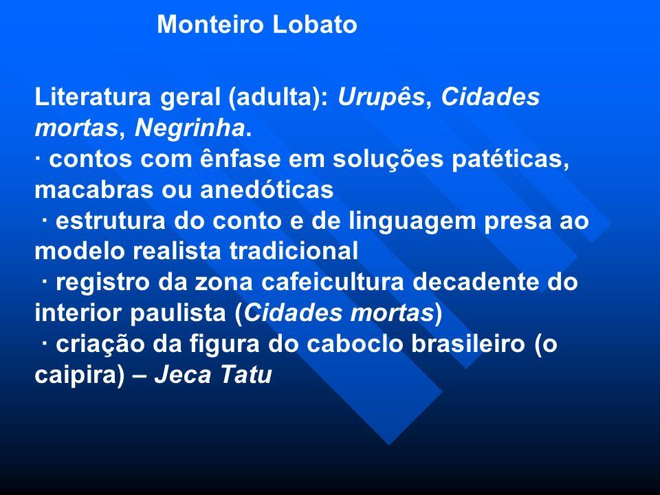 Monteiro Lobato Literatura geral (adulta): Urupês, Cidades mortas, Negrinha.