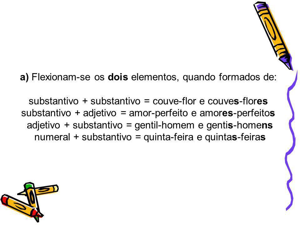 a) Flexionam-se os dois elementos, quando formados de: